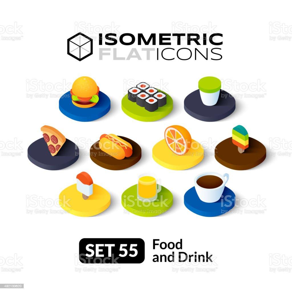 Isometric flat icons set 55 vector art illustration