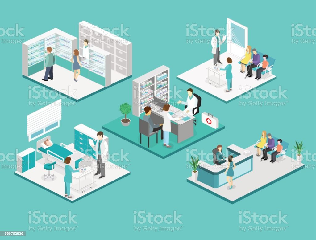 Isometric flat interior of hospital room, pharmacy, doctor's office, waiting room, reception. Doctors treating the patient. Flat 3D illustration vector art illustration