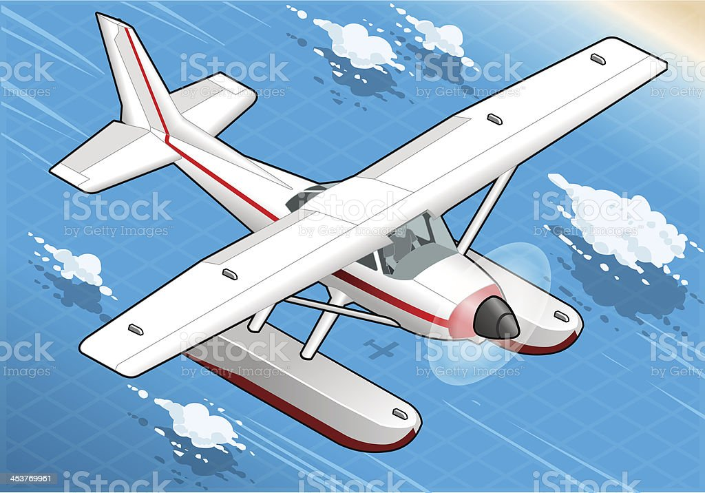 Isometric Flying Seaplane in Front View royalty-free stock vector art