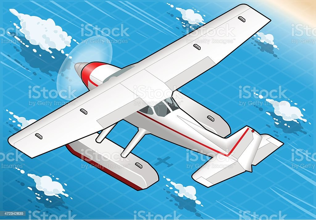 Isometric Flying Seaplane in Rear View vector art illustration