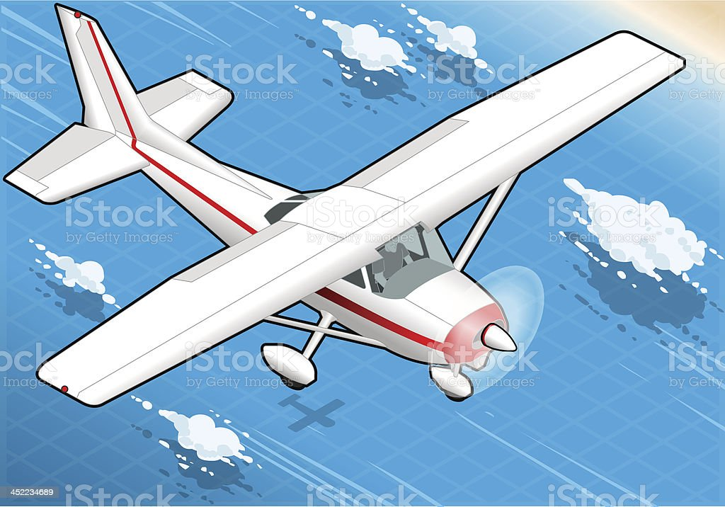 Isometric flying White Plane  in Front View royalty-free stock vector art