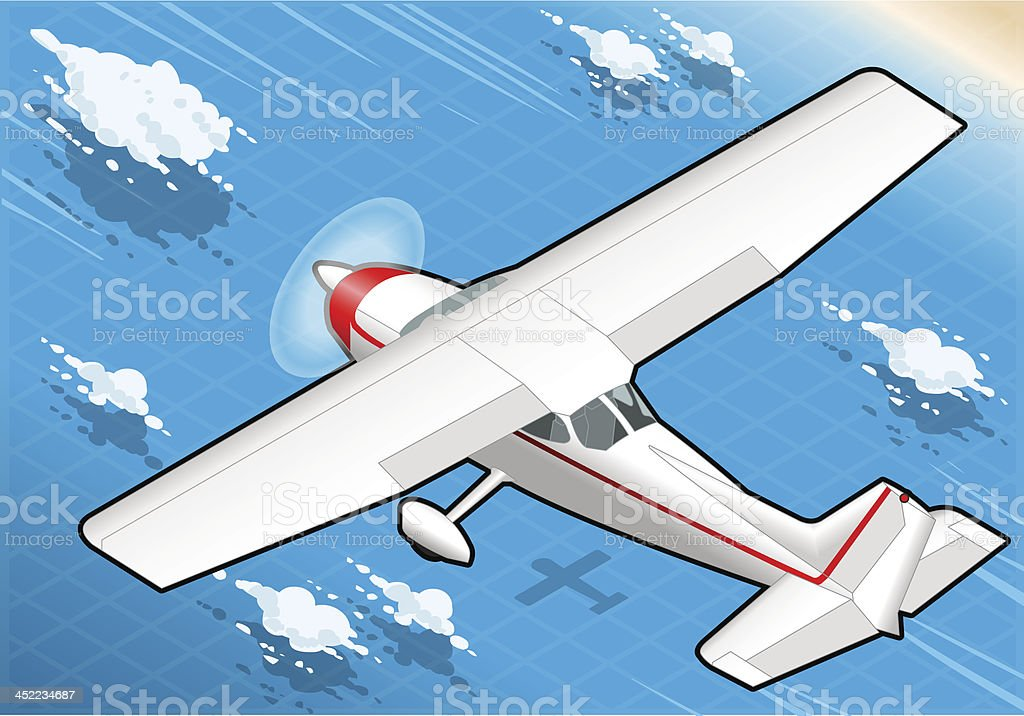 Isometric flying White Plane in Rear View royalty-free stock vector art