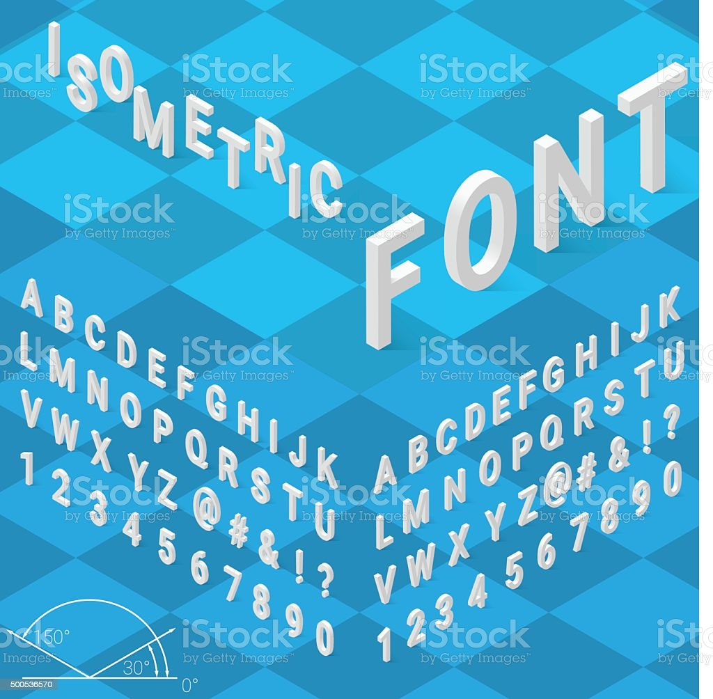 Isometric font alphabet with drop shadow on blue background vector art illustration