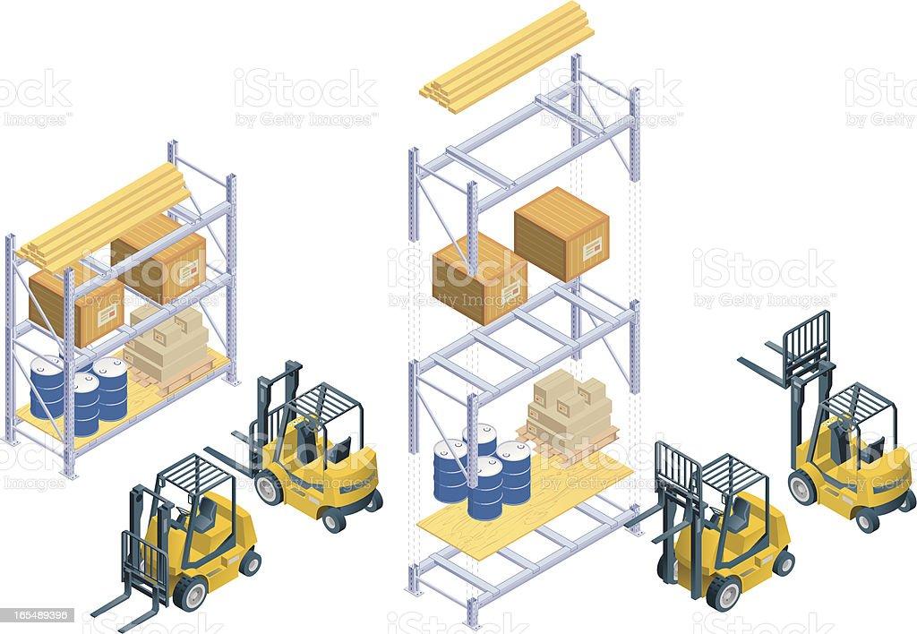 Isometric forklift and warehouse rack vector art illustration