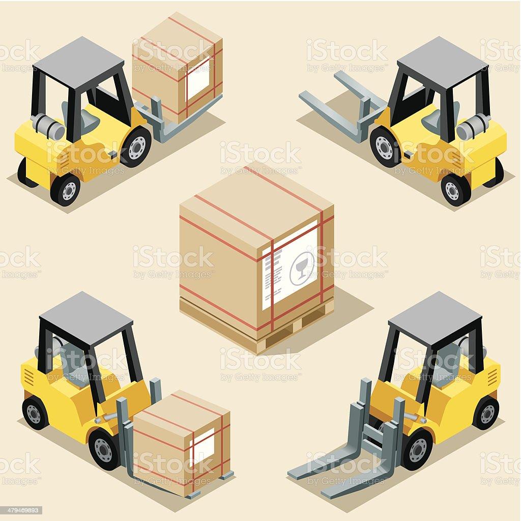 Isometric, Forklift vector art illustration