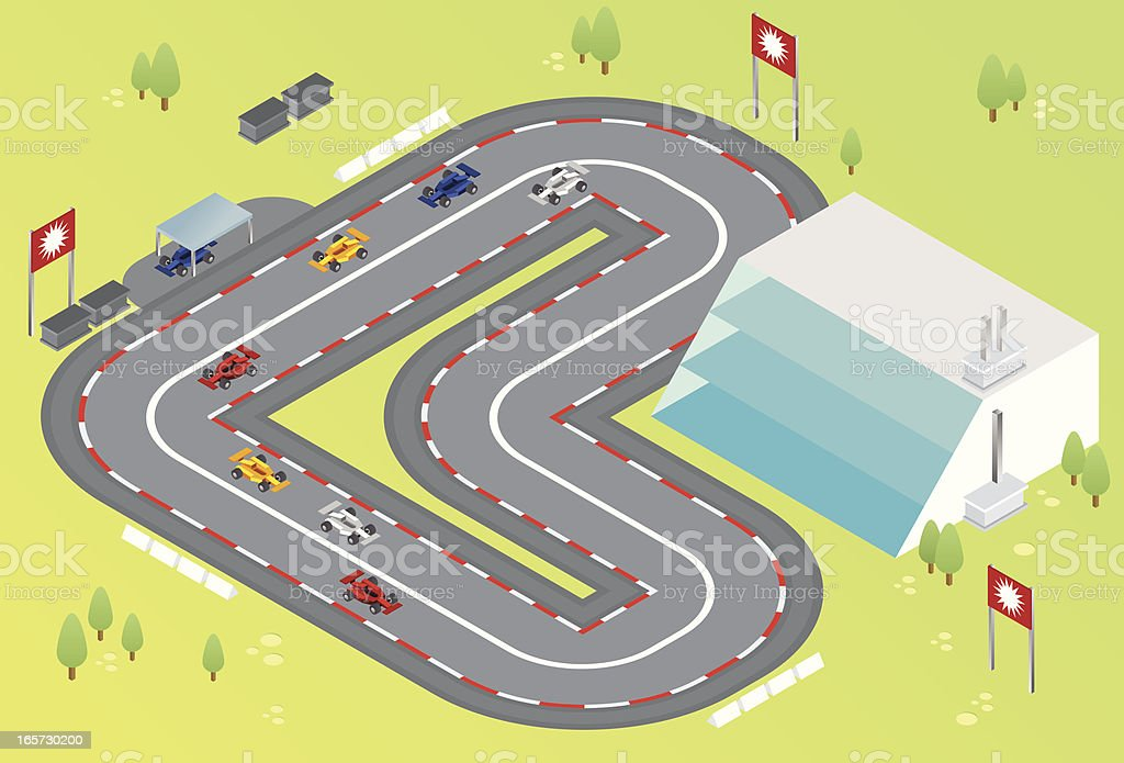 isometric formula one racing vector art illustration