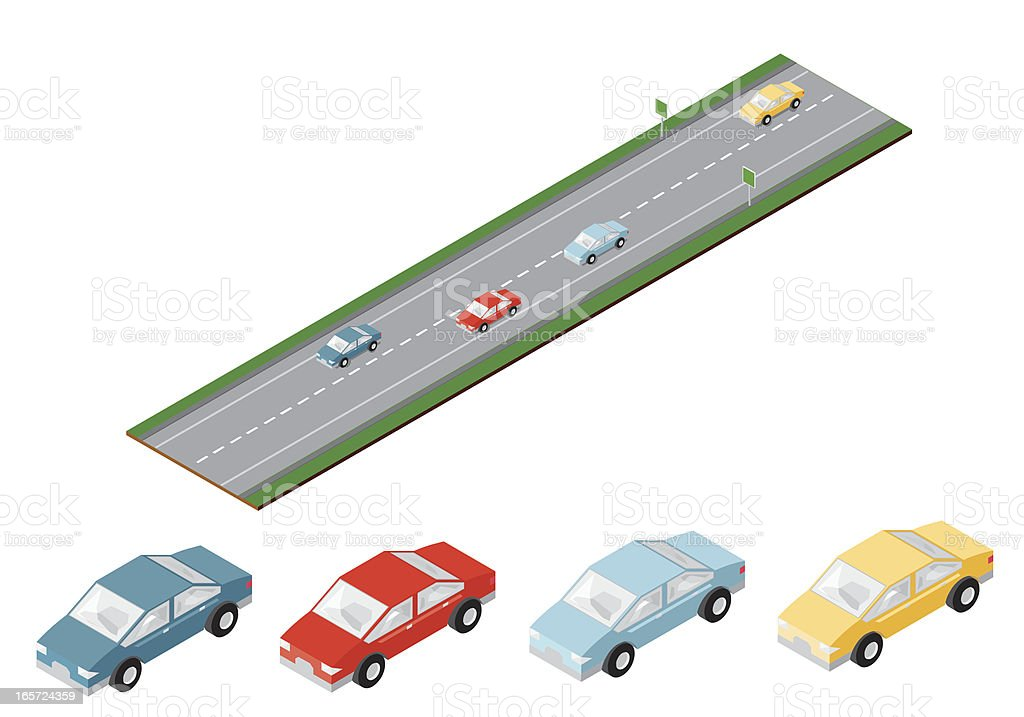 Isometric Freeway with cars royalty-free stock vector art