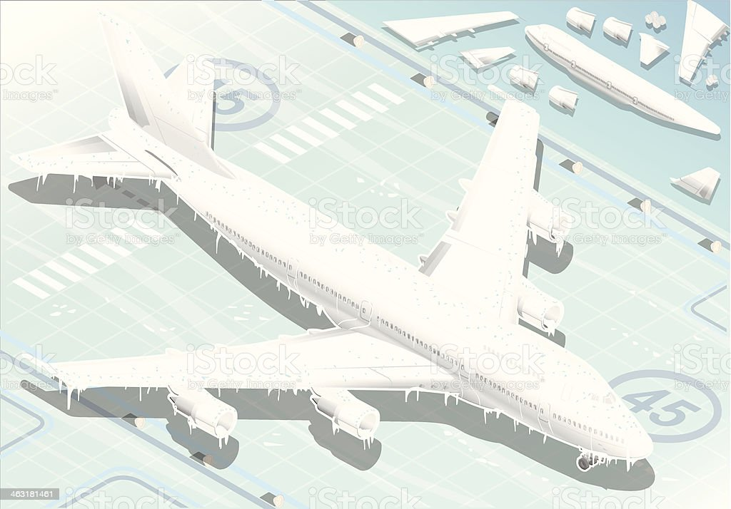 Isometric Frozen Airplane in  Front View vector art illustration