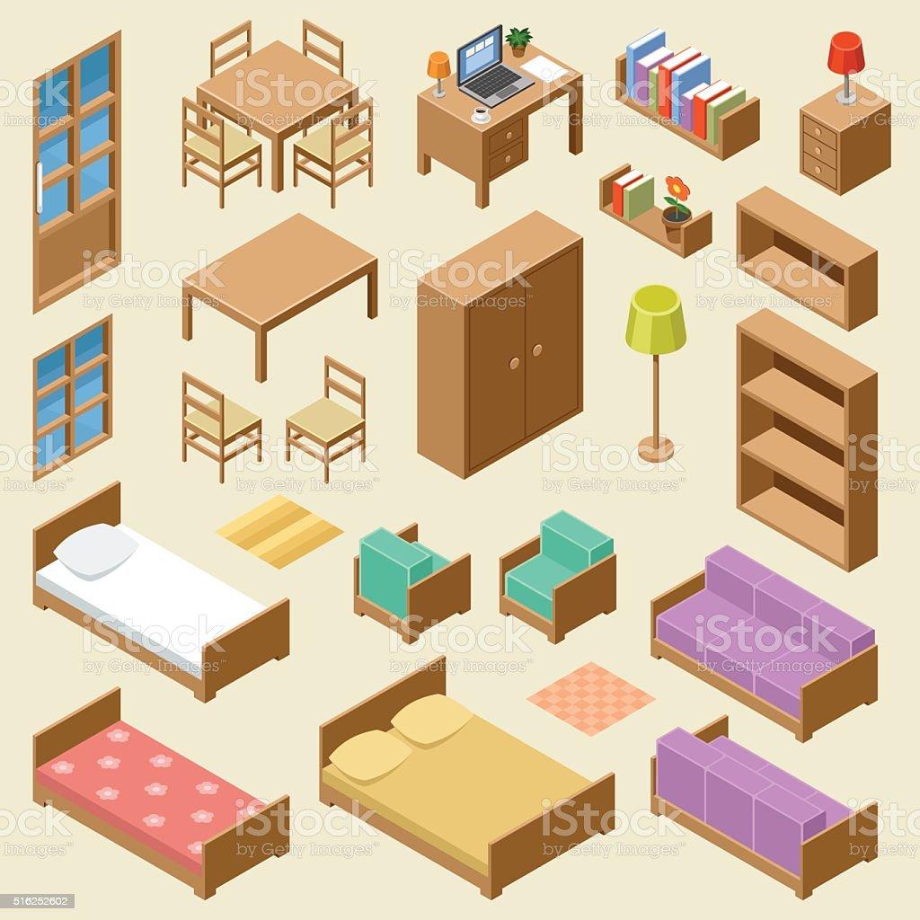 Isometric furniture set vector art illustration
