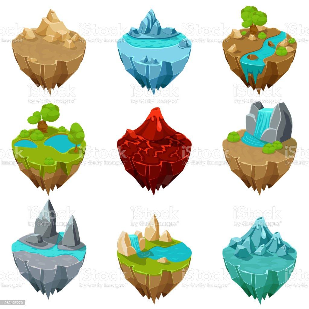 Isometric game islands vector vector art illustration
