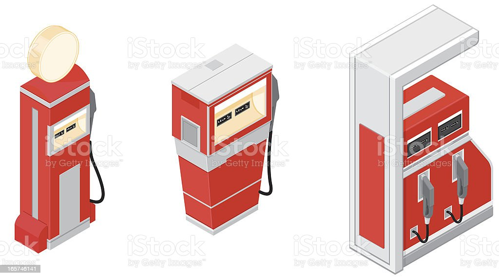 Isometric Gas Pumps royalty-free stock vector art