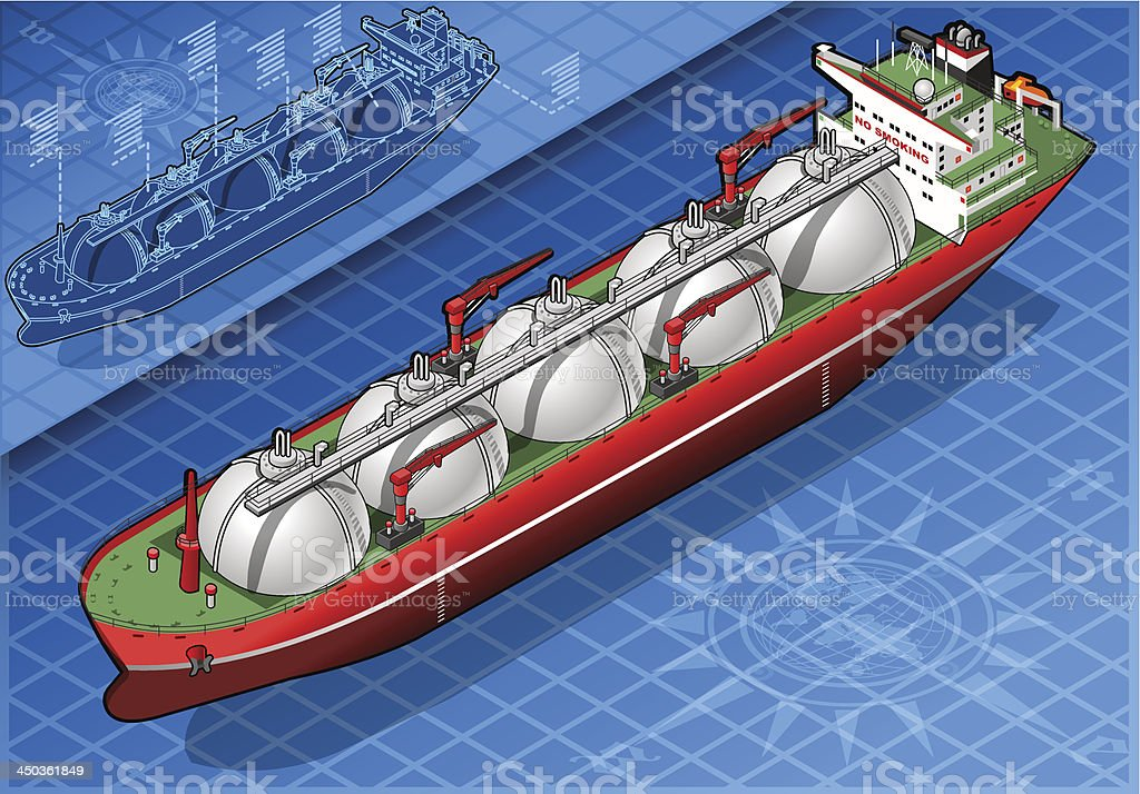 Isometric Gas Tanker Ship in front view royalty-free stock vector art