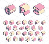 Isometric geometrical color outline latin font