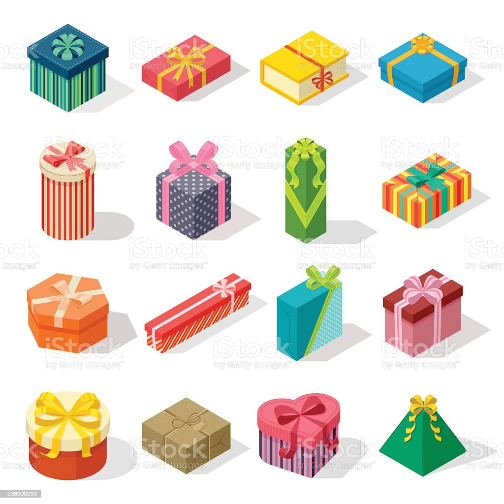 Isometric gift box vector illustration. vector art illustration