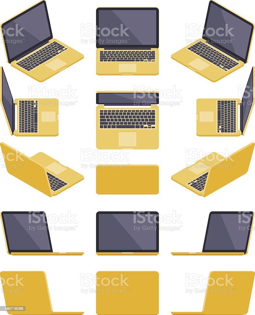 Isometric golden laptop vector art illustration