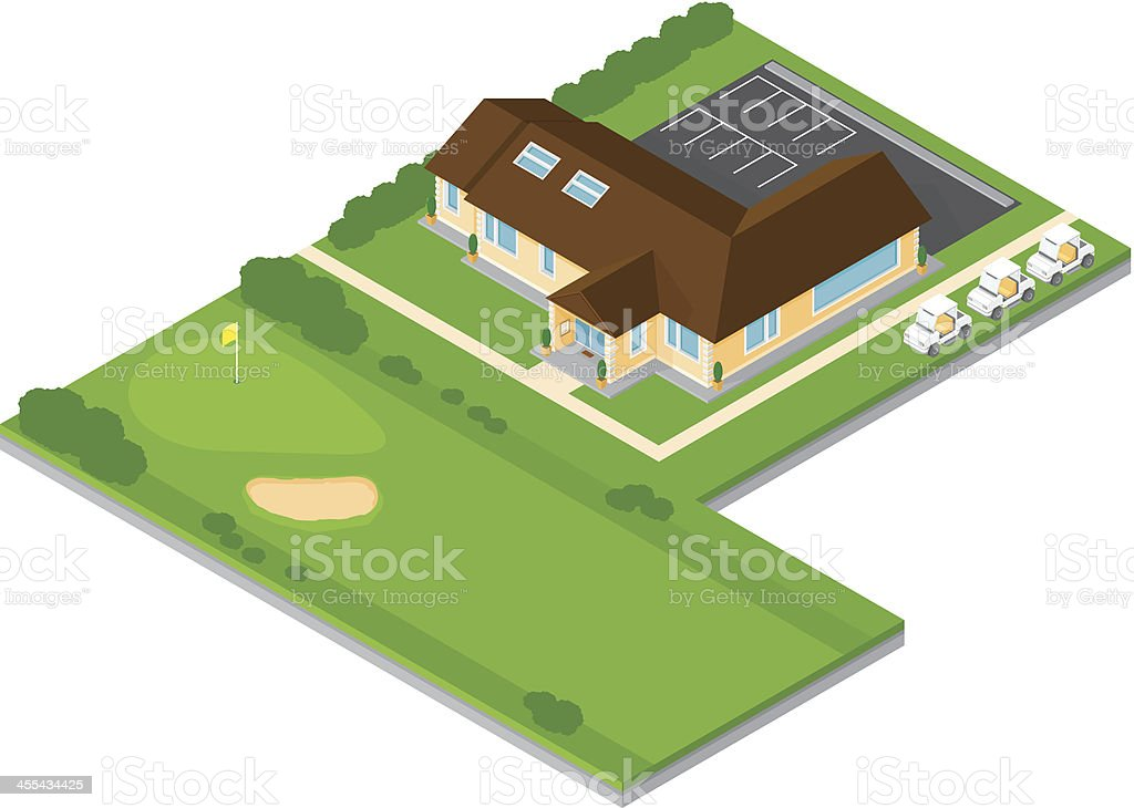 Isometric Golf Club House vector art illustration