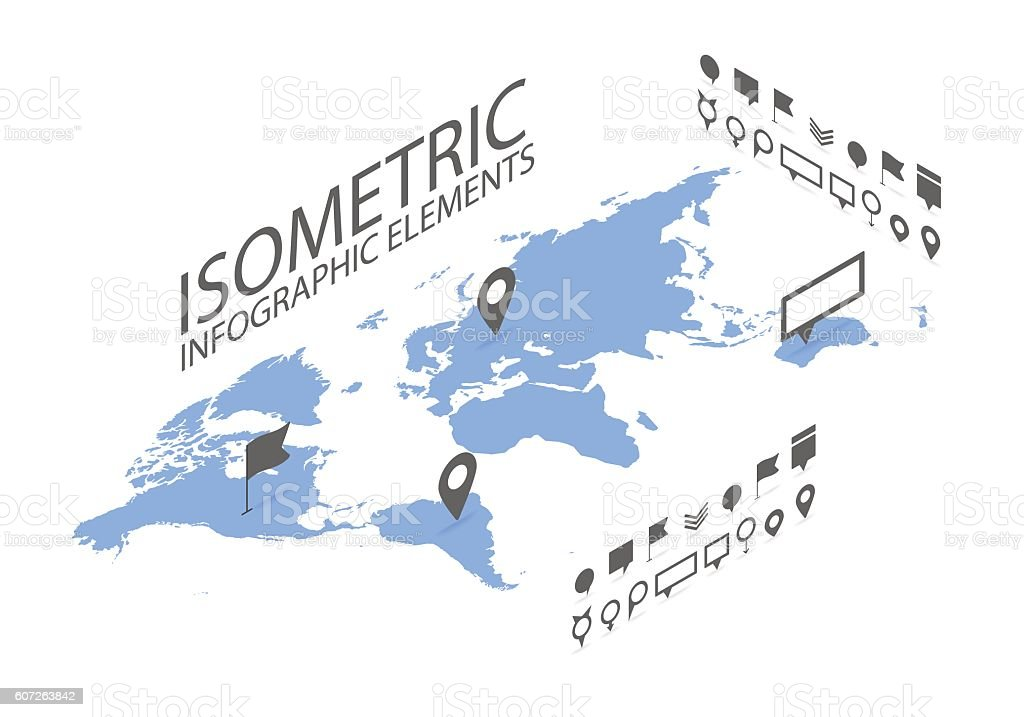 Isometric GPS navigation concept, World map application and marker pin vector art illustration