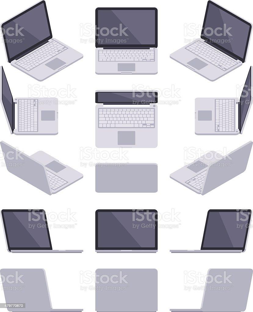 Isometric gray laptop vector art illustration