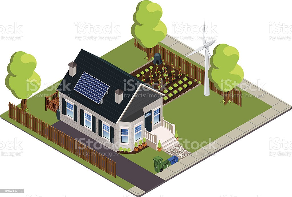 Isometric green or eco-friendly bungalow vector art illustration