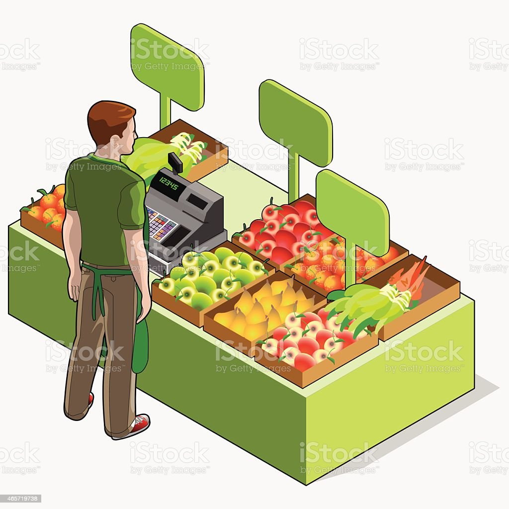 Isometric Greengrocer Shop - Man Owner Rear View Standing People vector art illustration