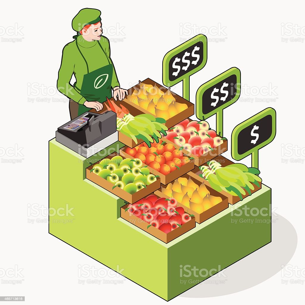 Isometric Greengrocer Shop - Woman Owner - Front View Standing vector art illustration