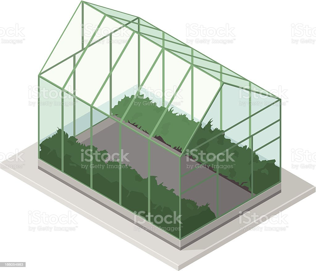 Isometric Greenhouse vector art illustration
