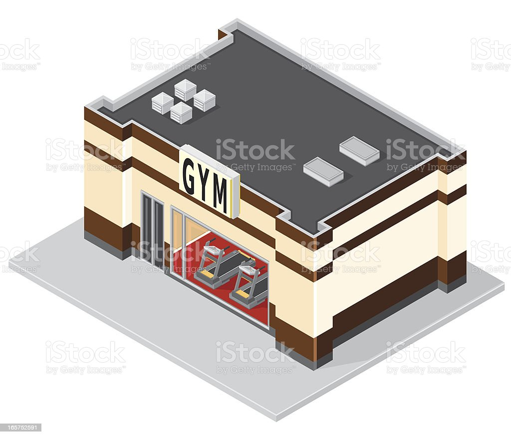 Isometric GYM Building vector art illustration
