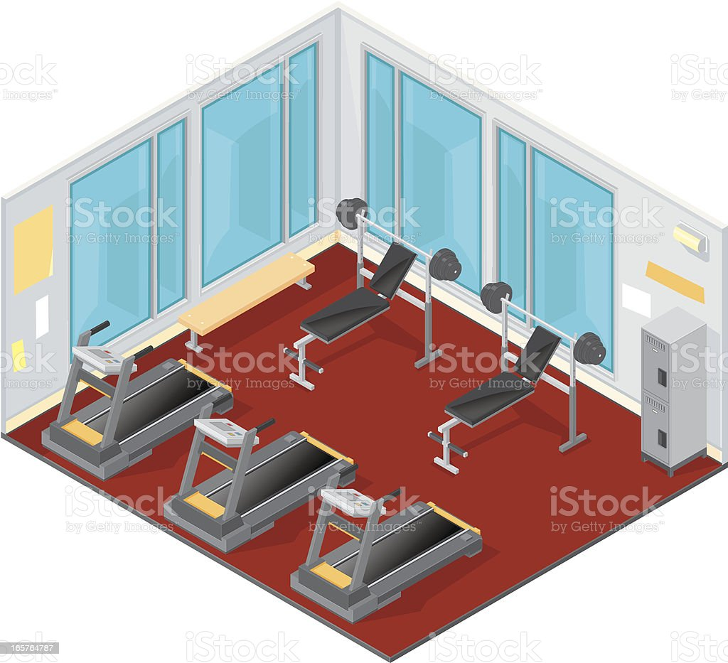 Isometric Gym. vector art illustration