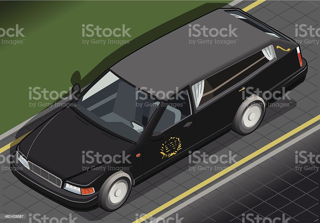 Isometric Hearse in Front View vector art illustration