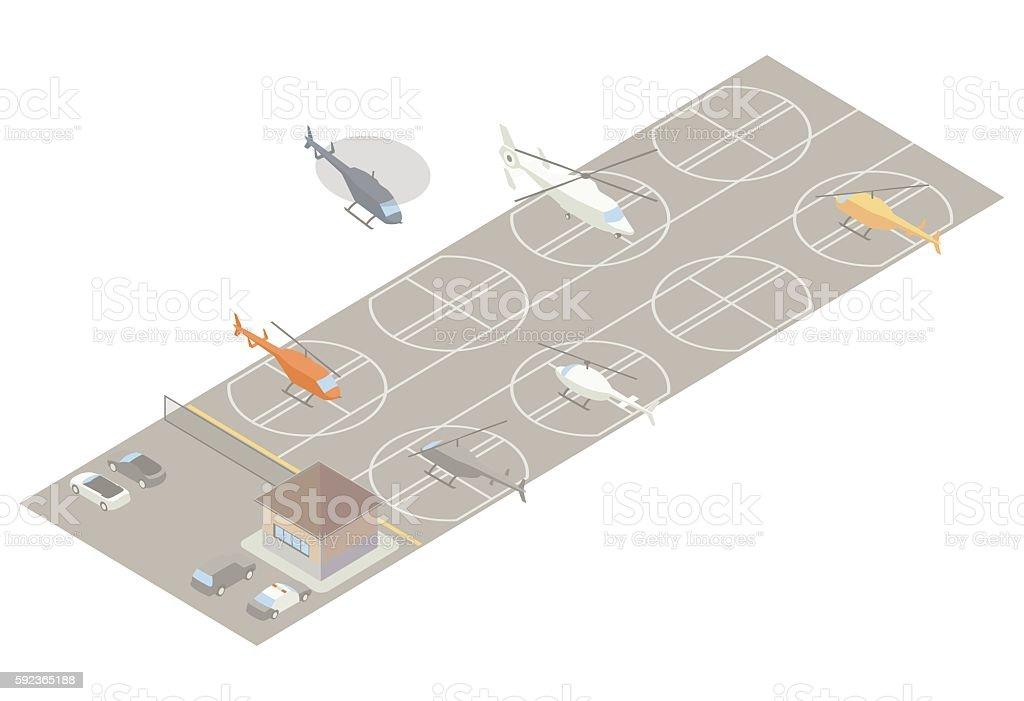 Isometric heliport illustration vector art illustration