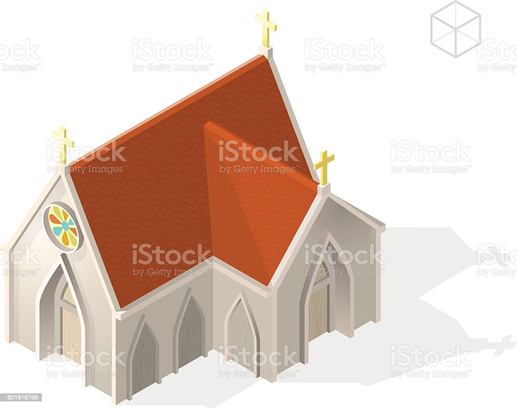 Isometric High Quality City Element with 45 Degrees Shadow. vector art illustration