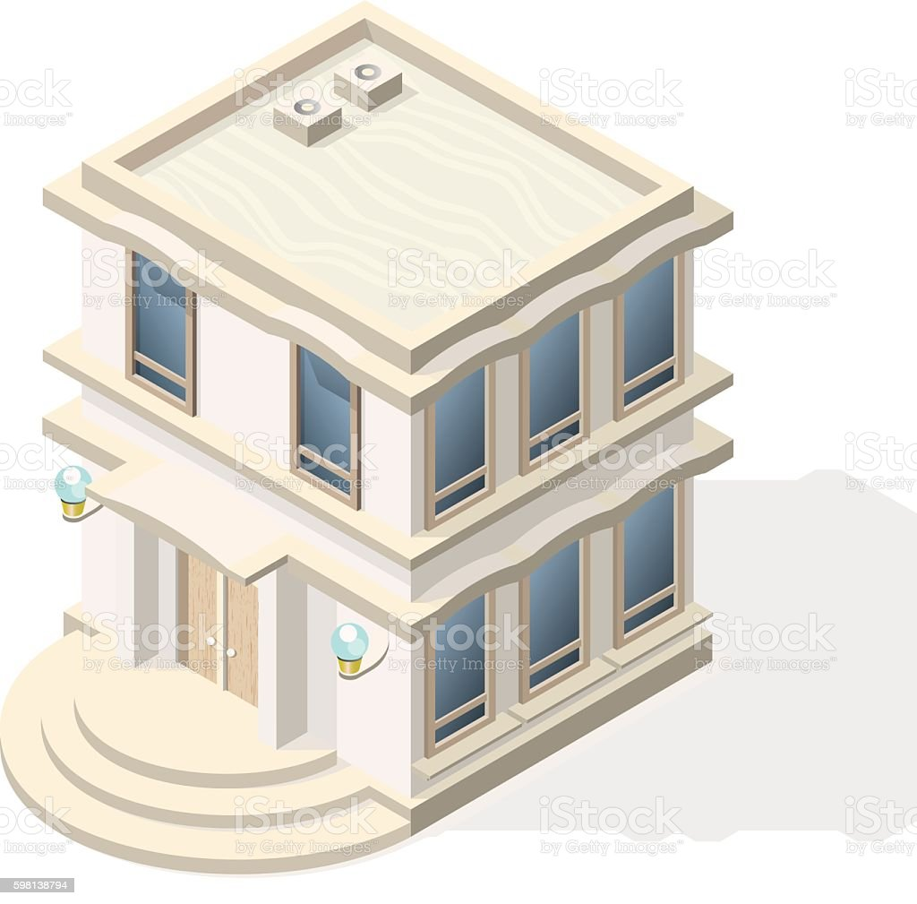 Isometric High Quality City Element with 45 Degrees Shadows. vector art illustration