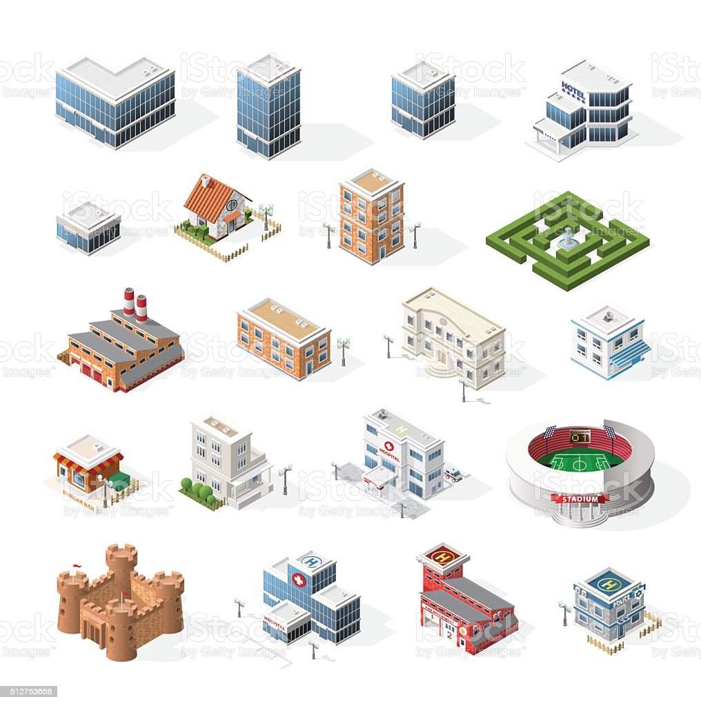 Isometric High Quality City Street Urban Buildings on White Background. vector art illustration