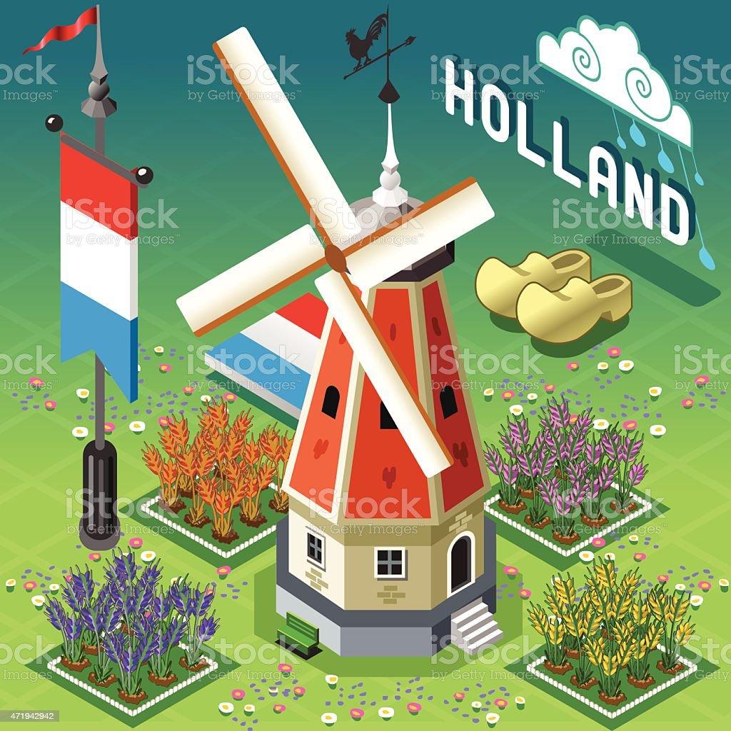 Isometric Holland Barn - Windmill Building vector art illustration