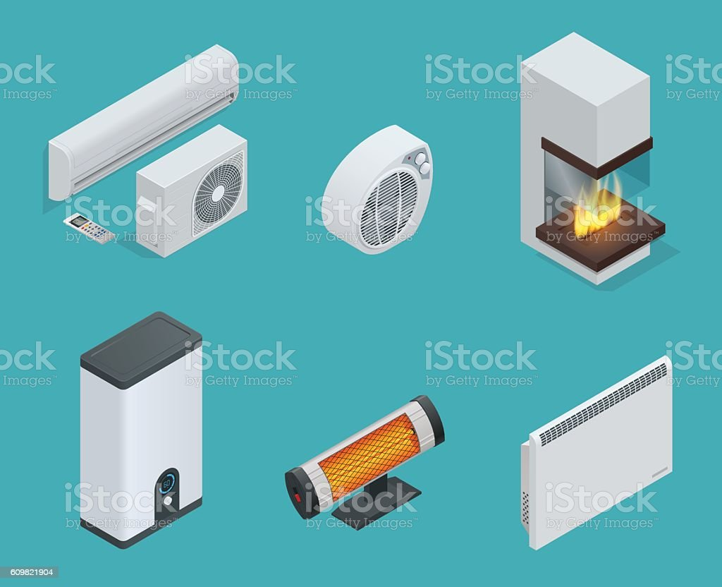 Isometric Home climate equipment vector art illustration