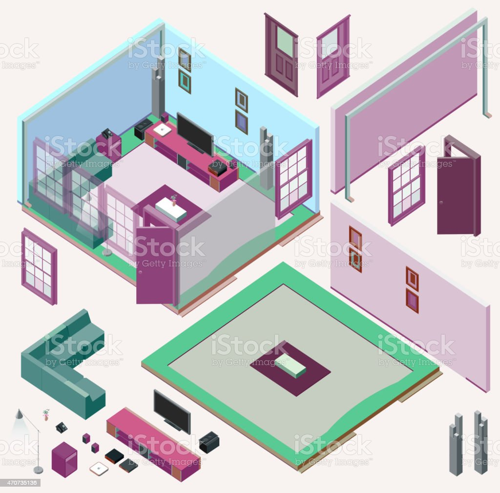 Isometric Home Design Kit Vectors In Pastel Shades Stock Vector - Home design kit