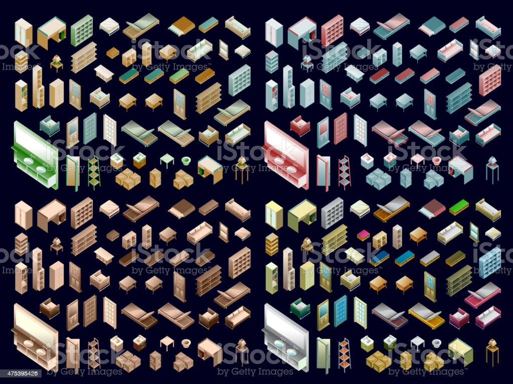 Isometric Home Planning vector art illustration