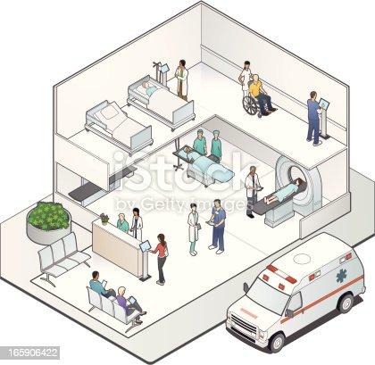 Isometric Hospital Cutaway