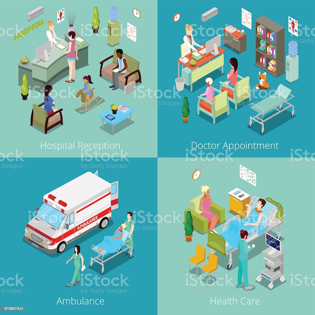 Isometric Hospital Interior. Doctor Appointment, Hospital Reception, Ambulance First Aid vector art illustration