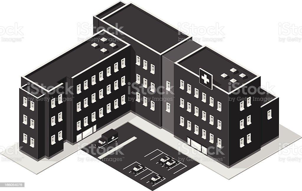 Isometric Hospital with Ambulance royalty-free stock vector art