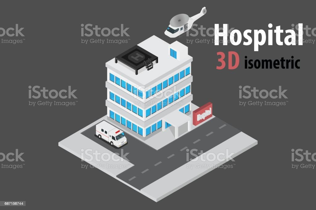3D isometric hospital with helicopter and ambulance.vector and illustration vector art illustration