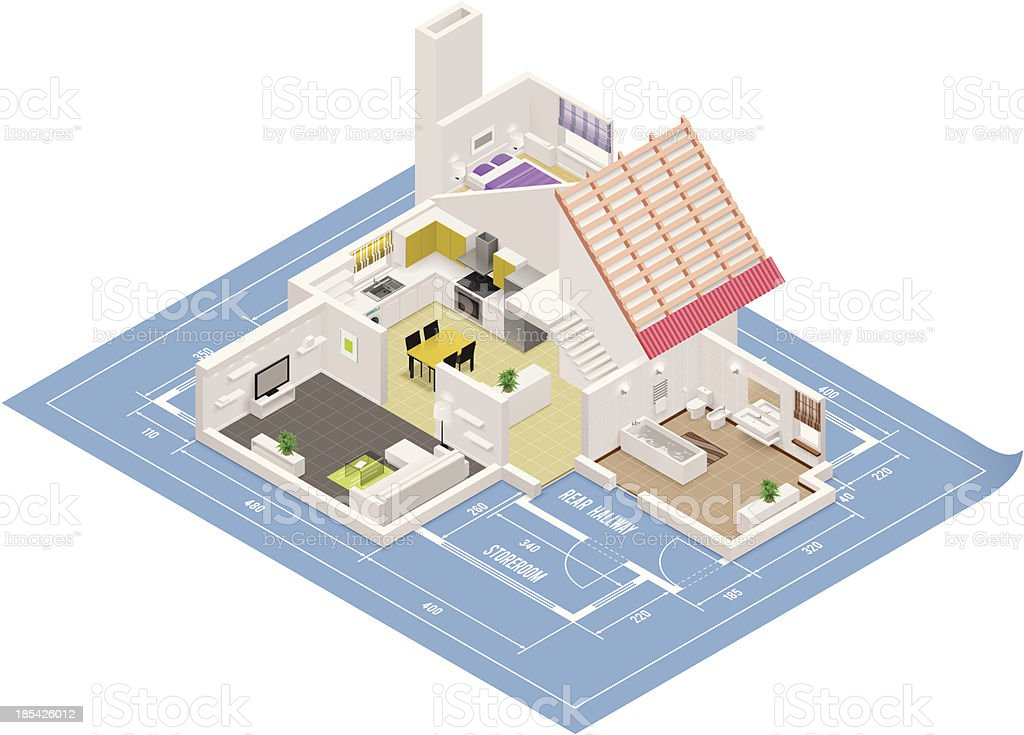 Isometric house cutaway icon vector art illustration