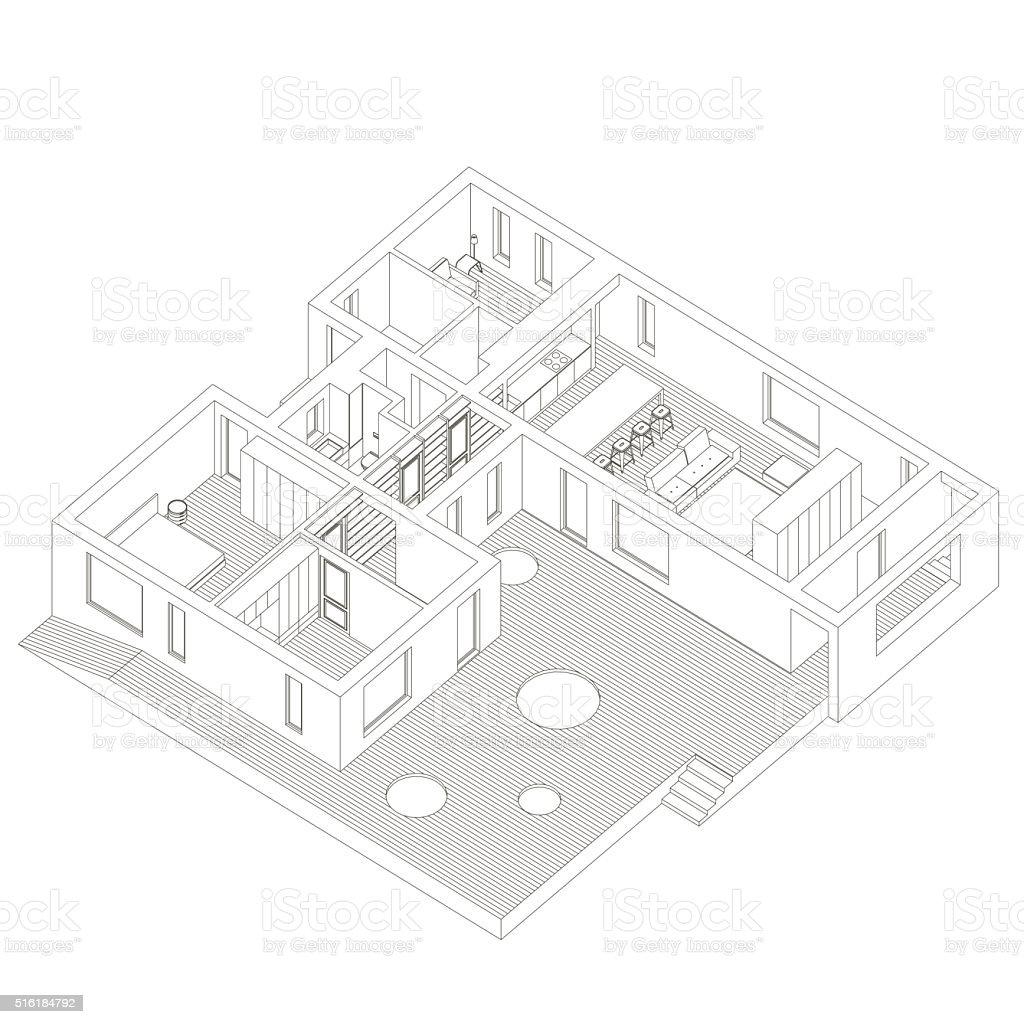 Isometric house inside vector art illustration
