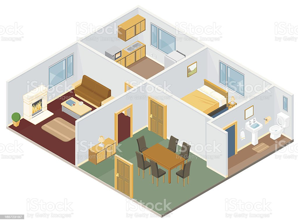 Isometric House Interior royalty-free stock vector art