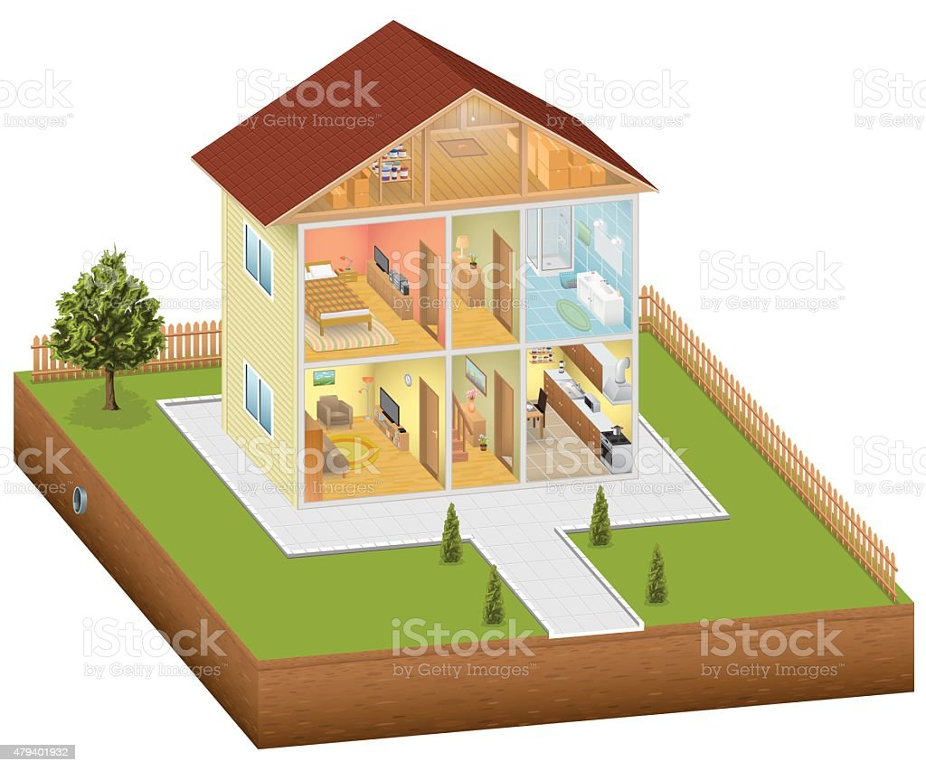 Isometric house interior with yard vector art illustration
