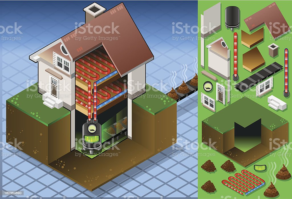 Isometric house with bio fuel boiler royalty-free stock vector art