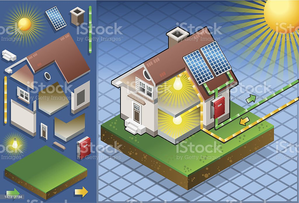 Isometric house with solar panel vector art illustration