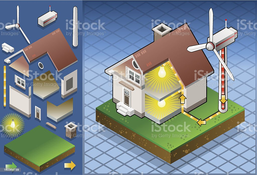 Isometric house with wind turbine royalty-free stock vector art