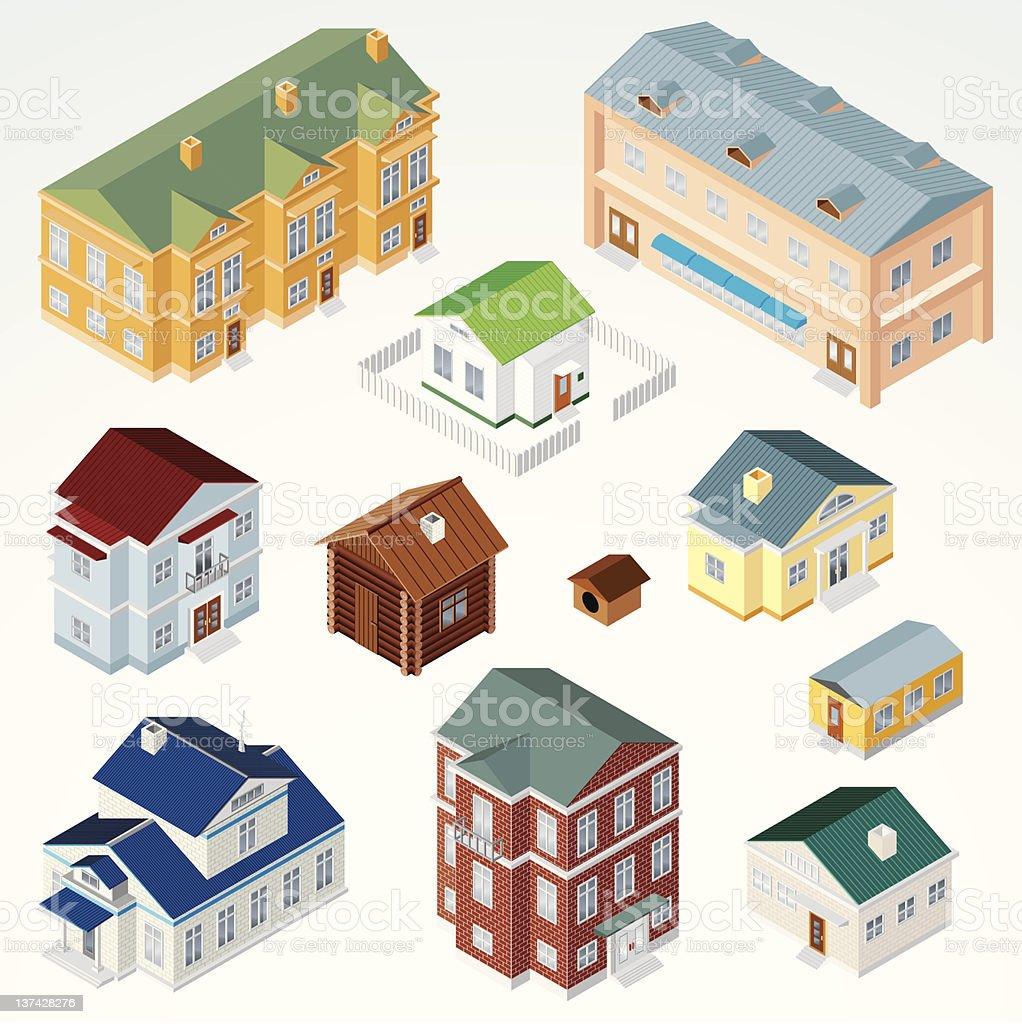 Isometric Houses, Dwellings, Cabins royalty-free stock vector art