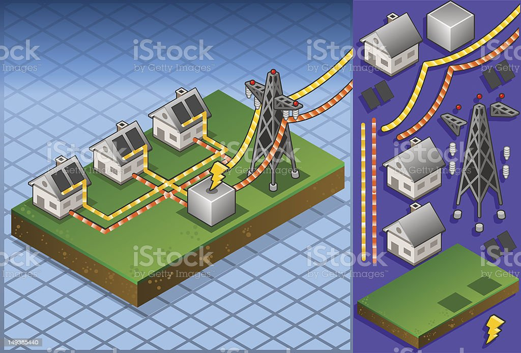 Isometric houses with solar panels in production of energy royalty-free stock vector art